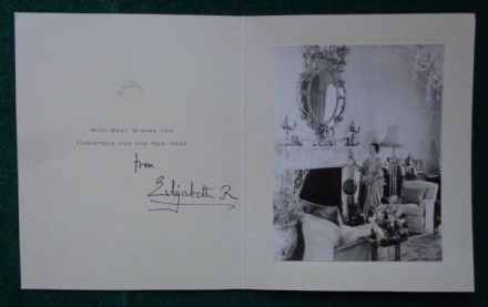Antique Hand Signed Christmas Card from Queen Elizabeth the Queen Mother